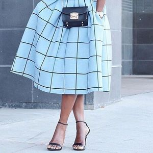 Chicwish grid print midi scuba skirt